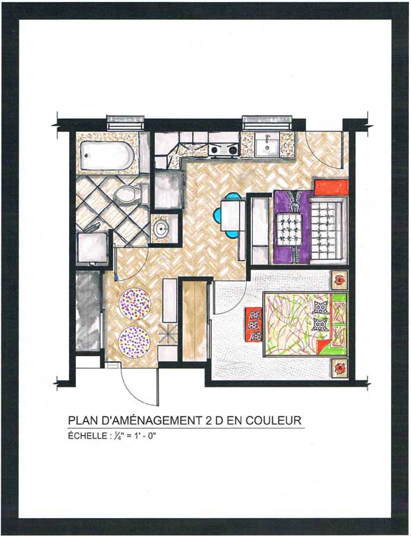 projet conceptuel petit condo 405pi2 37m2 isly design. Black Bedroom Furniture Sets. Home Design Ideas